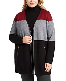 Plus Size Color Blocked Cardigan, Created For Macy's