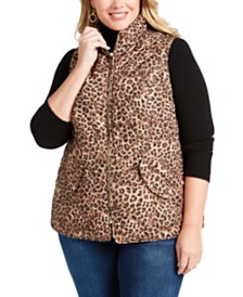 Charter Club Plus Size Leopard Print Puffer Vest, Created for Macy's