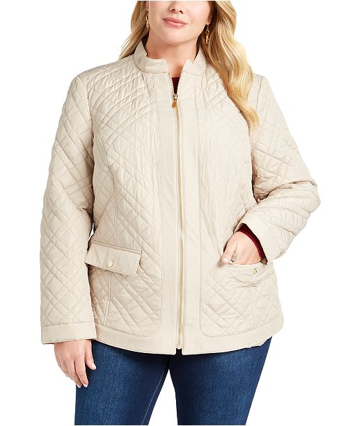 Charter Club Plus Size Quilted Mandarin-Collar Jacket, Created for Macy's