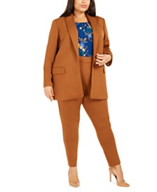 Calvin Klein Plus Size Notched-Lapel Blazer, Printed Pleated Top & Pull-On Zippered-Pocket Pants