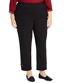 Plus Size Grommet-Detail Slim Ankle Pants, Created for Macy's