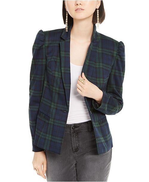 INC International Concepts I.N.C. Puff-Sleeve Plaid Jacket, Created for Macy's