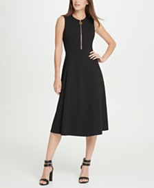 DKNY Animal Zipper Midi Dress