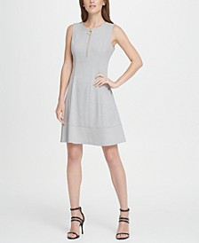 Lux Zip Front Fit  Flare Dress