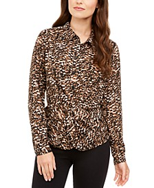 Printed Twist-Front Blouse, Created for Macy's