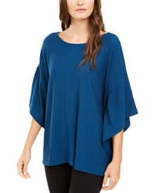 Alfani Ribbed Boat-Neck Poncho, Created for Macy's