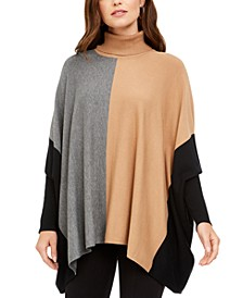 Petite Turtleneck Colorblock Poncho Sweater, Created for Macy's