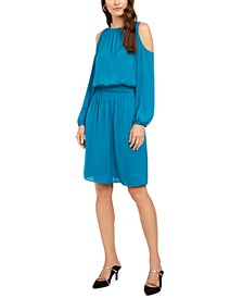 Petite Smocked-Waist Cold-Shoulder Dress, Created for Macy's