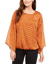 Petite Snakeskin Print Bubble Blouse, Created for Macy's