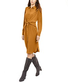 Petite Tie-Front Shirt Dress, Created for Macy's