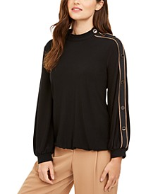 Button-Sleeve Mock-Neck Top, Created for Macy's