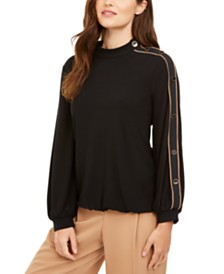 Alfani Button-Sleeve Mock-Neck Top, Created for Macy's