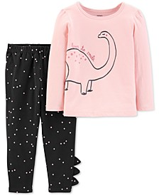 Baby Girls 2-Pc. Dinosaur-Print Top & Dot-Print Leggings Set