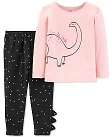 Carter's Baby Girls 2-Pc. Dinosaur-Print Top & Dot-Print Leggings Set
