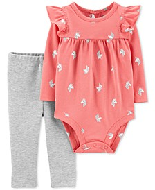 Baby Girls 2-Pc. Cotton Unicorn Bodysuit & Bow Leggings Set