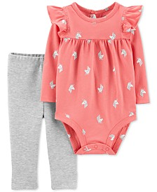 Carter's Baby Girls 2-Pc. Cotton Unicorn Bodysuit & Bow Leggings Set