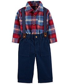 Baby Boys 3-Pc. Cotton Plaid Bodysuit, Suspenders & Twill Pants Set
