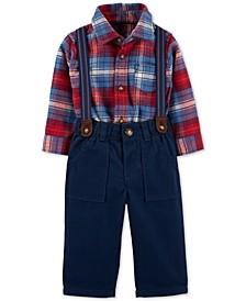 Baby Boys 3-Pc. Cotton Plaid Bodysuit, Suspenders & Twill Pants Set