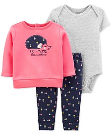 Baby Girls 3-Pc. Hedgehog Sweatshirt, Bodysuit & Leggings Set