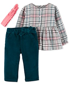 Baby Girls 3-Pc. Headband, Plaid Top & Corduroy Pants Set