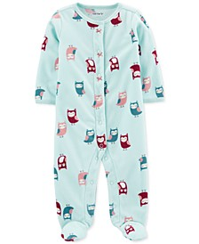 Baby Girls Fleece Owl-Print Coverall