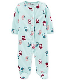 Carter's Baby Girls Fleece Owl-Print Coverall