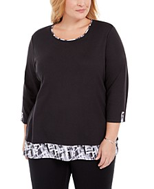 Plus Size Plaid-Trim Top, Created for Macy's