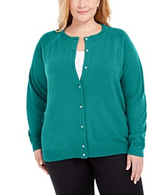 Plus Size Luxsoft Pearl Button Cardigan, Created For Macy's