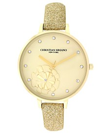 Christian Siriano Women's Analog Gold-Tone Stainless Steel Glitter Strap Watch 38mm