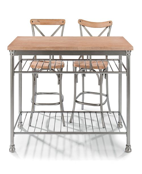 Home Styles French Quarter Butcher Block Top Kitchen Island Two Stools Reviews Furniture Macy S