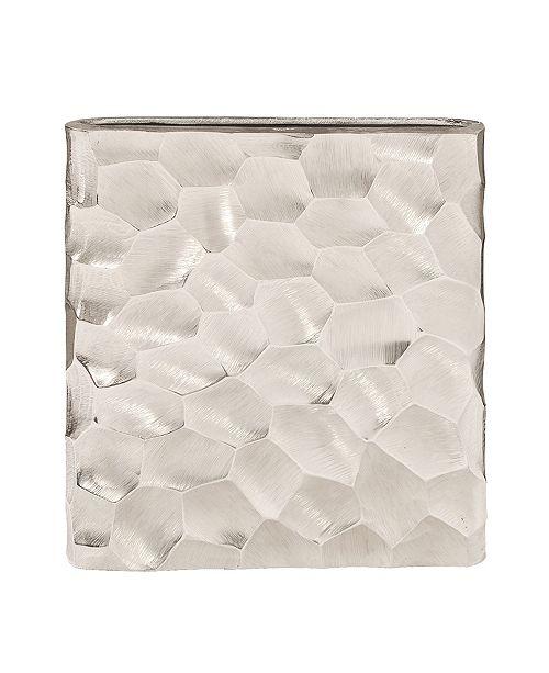 Howard Elliott Hammered Aluminum Flat Vase Bright Silver
