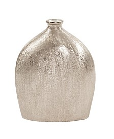 Textured Flask Vase In Bright Silver