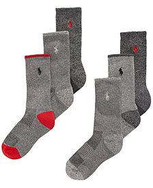 Polo Ralph Lauren Little & Big Boys 6-Pk. Marled Crew Socks