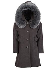Big Girls Hooded Bows Coat With Faux-Fur Trim