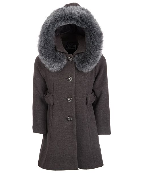 S Rothschild & CO Toddler Girls Hooded Faux-Fur-Trim Coat