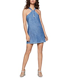 Cotton Twisted Denim A-Line Dress