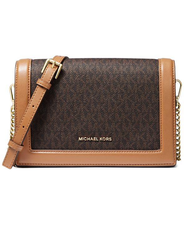 Michael Kors Signature Jet Set Full Flap Chain Leather Crossbody