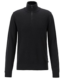 BOSS Men's Bizzino Regular-Fit Zip-Neck Virgin Wool Sweater