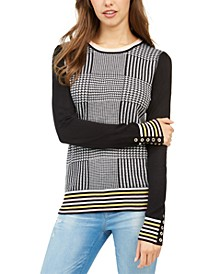 Plaid-Front Sweater, Created for Macy's
