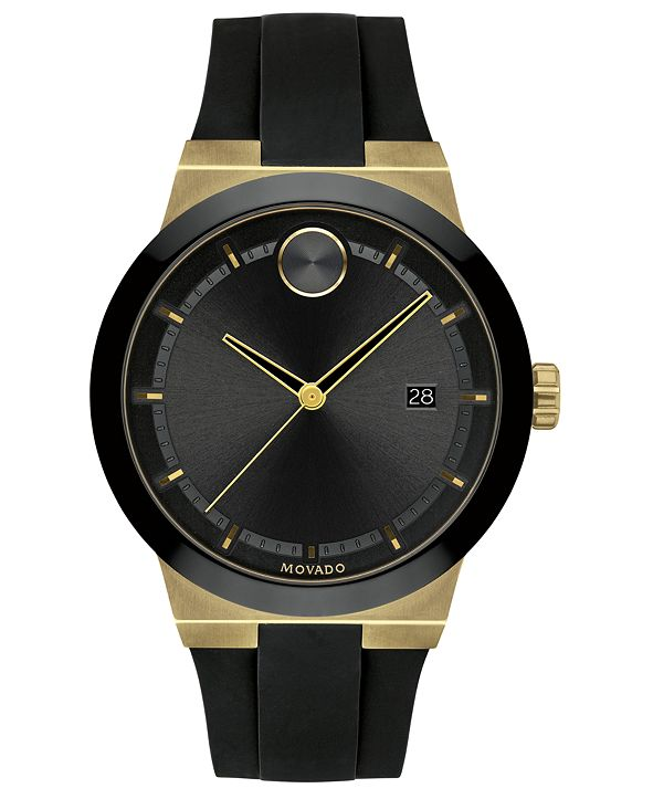 Movado Men's Fusion Swiss Bold Black Silicone Strap Watch 42mm