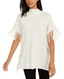 Elie Tahari Cyrus Wool Fringe-Trim Mock-Neck Sweater