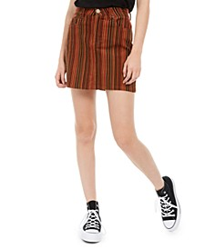 Juniors' Striped Denim Mini Skirt