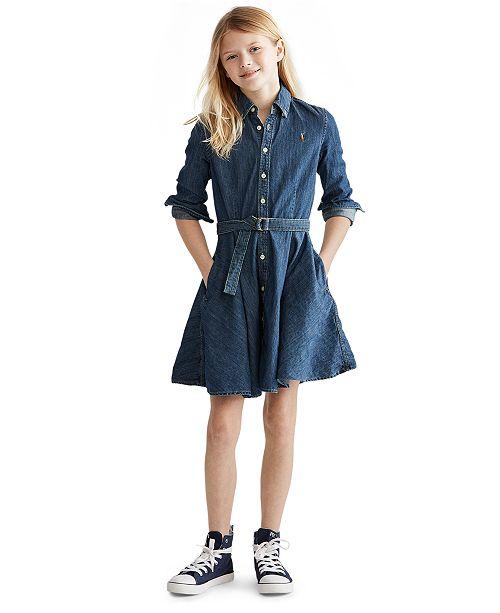 Polo Ralph Lauren Big Girls Denim Cotton Shirtdress