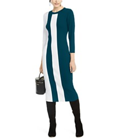 I.N.C. Colorblocked Sweater Dress, Created for Macy's