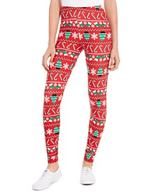 Juniors' Printed Holiday Leggings
