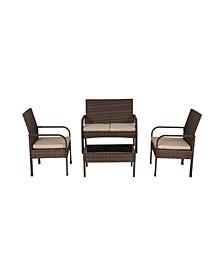4-Piece Rattan Wicker Modern Sofa Set
