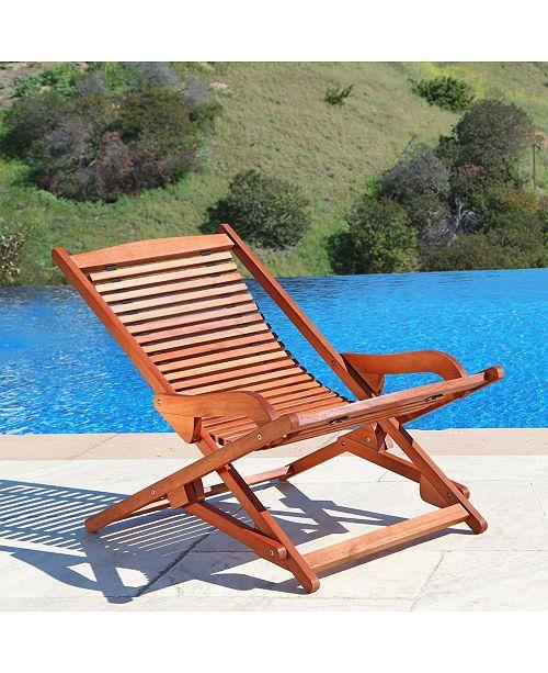 VIFAH Malibu Outdoor Wood Folding Lounge