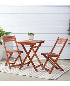 Malibu Outdoor Patio 3-Piece Wood Bistro Set