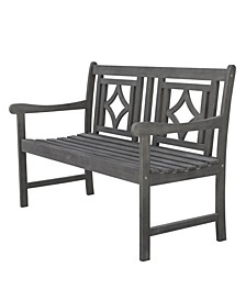 Renaissance Outdoor Patio Diamond Hand-Scraped Hardwood Bench