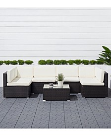 Venice 6-Piece Classic Outdoor Wicker Sectional Sofa with Seat and Back Cushion